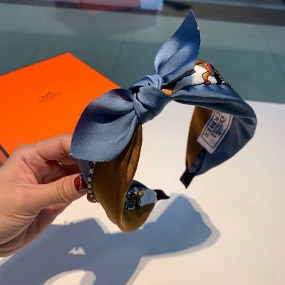 Hermes Chain Print Bow-knot Headband Blue