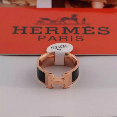 Hermes Clic H Ring Rose Gold In Black