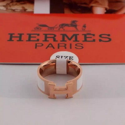 Hermes Clic H Ring Rose Gold In White