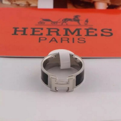 Hermes Clic H Ring Silver In Black