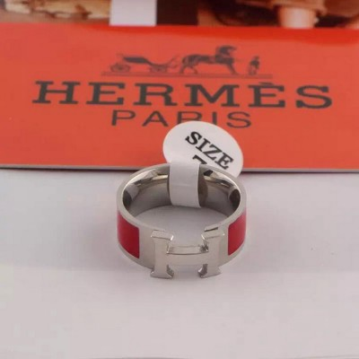 Hermes Clic H Ring Silver In Red