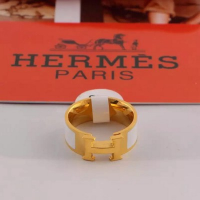 Hermes Clic H Ring Gold In White