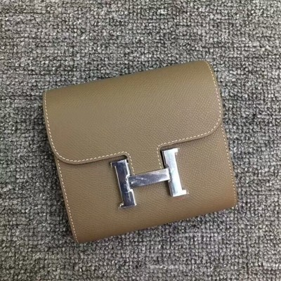 Hermes Constance Compact Wallet Epsom Leather Palladium Hardware In Grey
