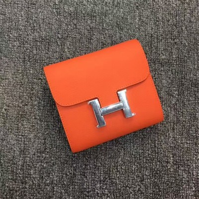 Hermes Constance Compact Wallet Epsom Leather Palladium Hardware In Orange