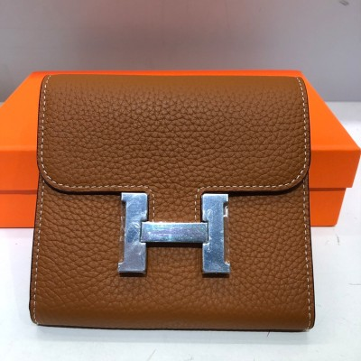 Hermes Constance Compact Wallet Togo Leather Palladium Hardware In Brown