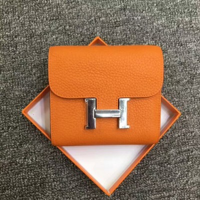 Hermes Constance Compact Wallet Togo Leather Palladium Hardware In Orange
