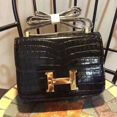 Hermes Constance Bag Alligator Leather Gold Hardware In Black