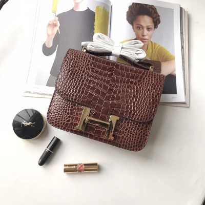Hermes Constance Bag Alligator Leather Gold Hardware In Burgundy