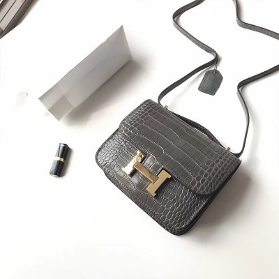 Hermes Constance Bag Alligator Leather Gold Hardware In Dark Grey