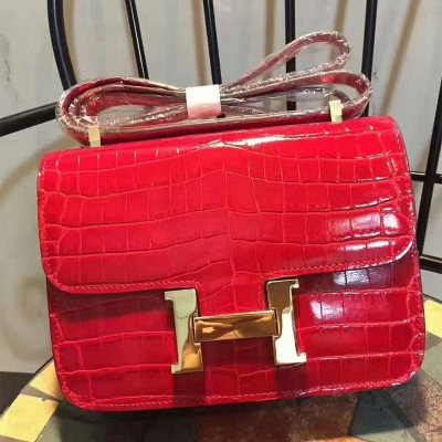 Hermes Constance Bag Alligator Leather Gold Hardware In Red