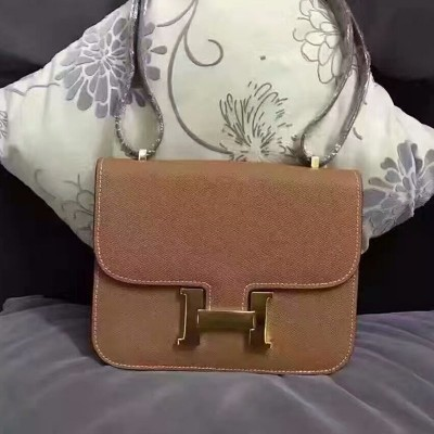 Hermes Constance Bag Epsom Leather Gold Hardware In Brown