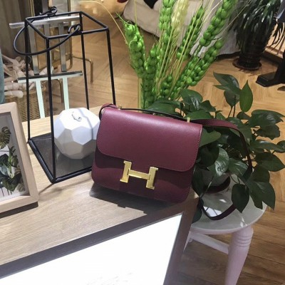 Hermes Constance Bag Epsom Leather Gold Hardware In Burgundy