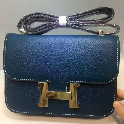 Hermes Constance Bag Togo Leather Gold Hardware In Blue