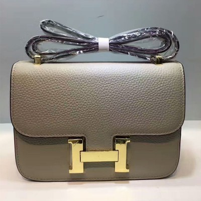 Hermes Constance Bag Togo Leather Gold Hardware In Grey