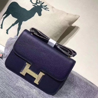 Hermes Constance Bag Togo Leather Gold Hardware In Navy Blue