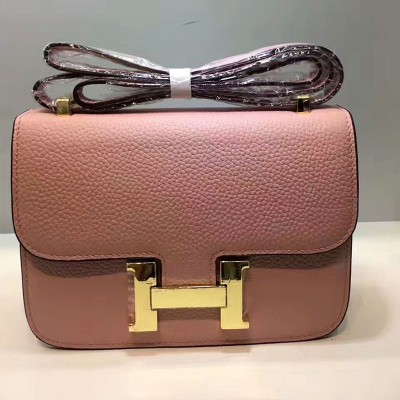 Hermes Constance Bag Togo Leather Gold Hardware In Pink