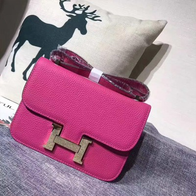 Hermes Constance Bag Togo Leather Gold Hardware In Rose