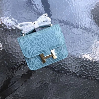 Hermes Constance Bag Lizard Leather Gold Hardware In Blue