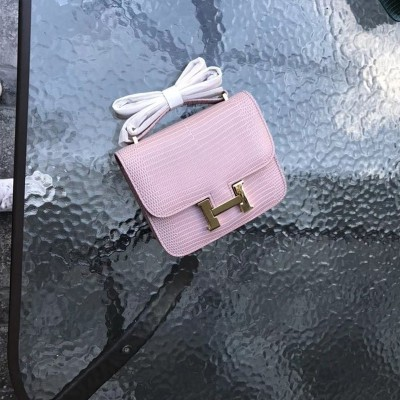 Hermes Constance Bag Lizard Leather Gold Hardware In Pink
