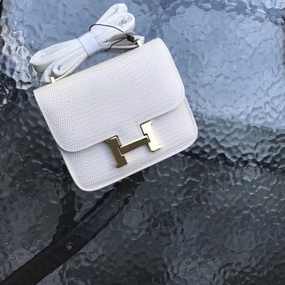 Hermes Constance Bag Lizard Leather Gold Hardware In White