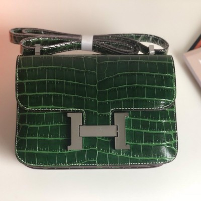 Hermes Constance Bag Alligator Leather Palladium Hardware In Emerald
