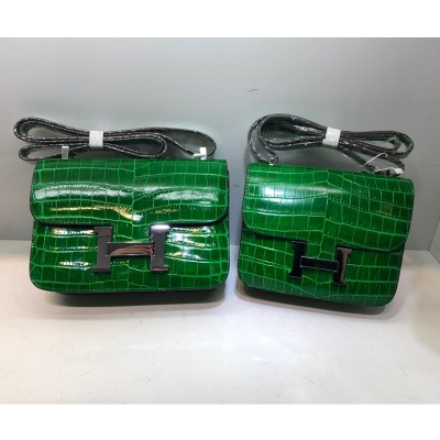 Hermes Constance Bag Alligator Leather Palladium Hardware In Green