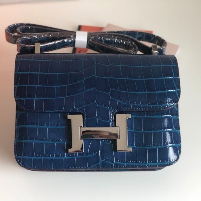 Hermes Constance Bag Alligator Leather Palladium Hardware In Navy Blue