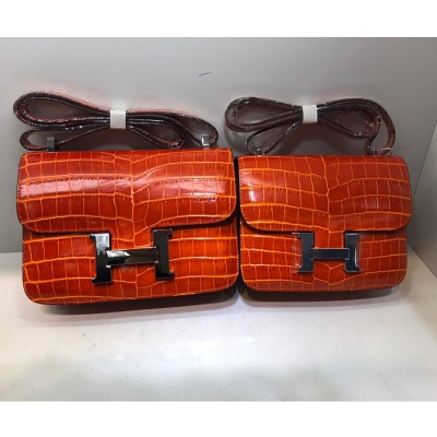 Hermes Constance Bag Alligator Leather Palladium Hardware In Orange