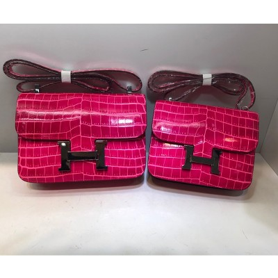 Hermes Constance Bag Alligator Leather Palladium Hardware In Rose