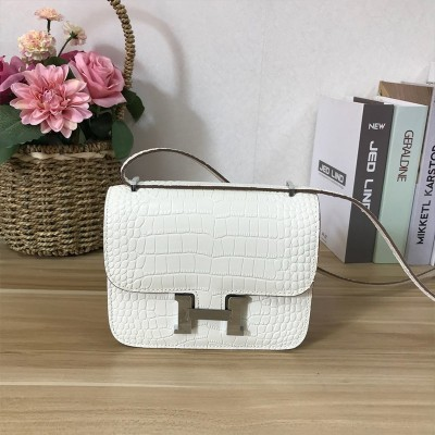 Hermes Constance Bag Alligator Leather Palladium Hardware In White