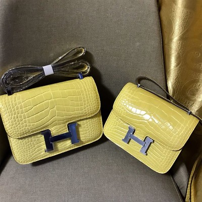 Hermes Constance Bag Alligator Leather Palladium Hardware In Yellow