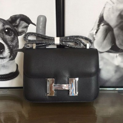 Hermes Constance Bag Epsom Leather Palladium Hardware In Black