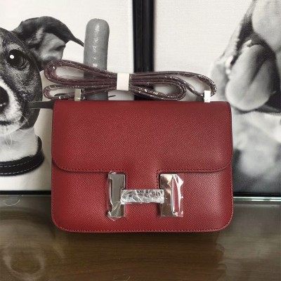 Hermes Constance Bag Epsom Leather Palladium Hardware In Burgundy