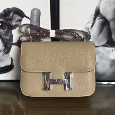 Hermes Constance Bag Epsom Leather Palladium Hardware In Grey