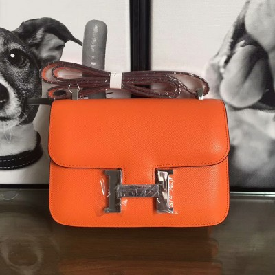 Hermes Constance Bag Epsom Leather Palladium Hardware In Orange