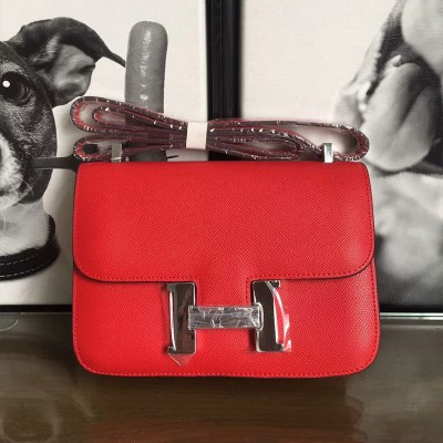 Hermes Constance Bag Epsom Leather Palladium Hardware In Red
