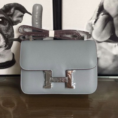 Hermes Constance Bag Epsom Leather Palladium Hardware In Sky Blue