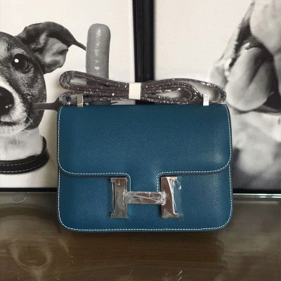 Hermes Constance Bag Epsom Leather Palladium Hardware In Teal