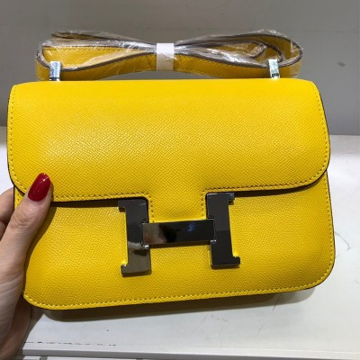 Hermes Constance Bag Epsom Leather Palladium Hardware In Yellow