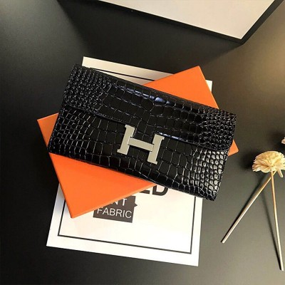 Hermes Constance Wallet Alligator Leather Palladium Hardware In Black
