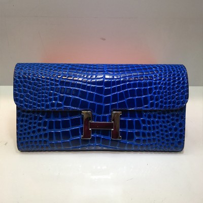 Hermes Constance Wallet Alligator Leather Palladium Hardware In Blue