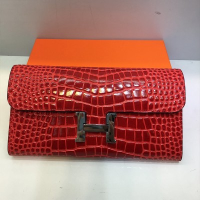 Hermes Constance Wallet Alligator Leather Palladium Hardware In Red