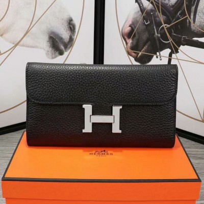 Hermes Constance Wallet Epsom Leather Palladium Hardware In Black
