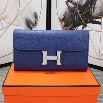 Hermes Constance Wallet Epsom Leather Palladium Hardware In Blue