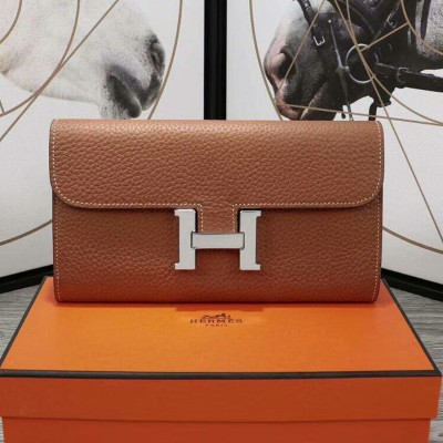 Hermes Constance Wallet Epsom Leather Palladium Hardware In Brown