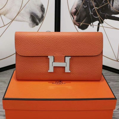 Hermes Constance Wallet Epsom Leather Palladium Hardware In Orange