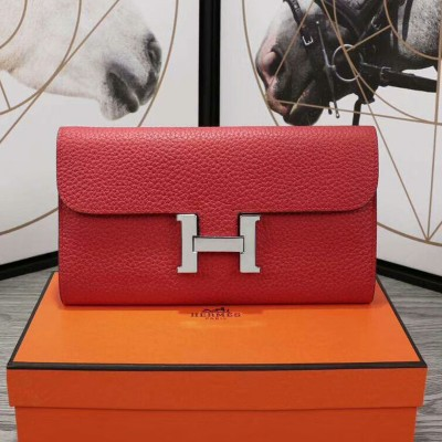 Hermes Constance Wallet Epsom Leather Palladium Hardware In Red
