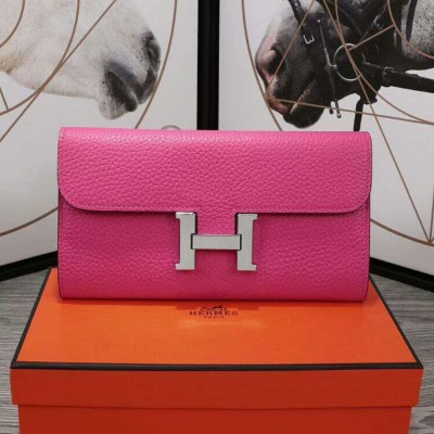 Hermes Constance Wallet Epsom Leather Palladium Hardware In Rose