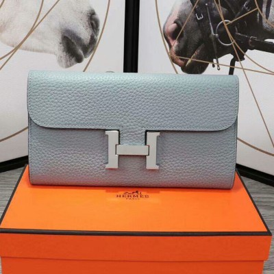 Hermes Constance Wallet Epsom Leather Palladium Hardware In Sky Blue