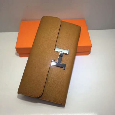 Hermes Constance Wallet Togo Leather Palladium Hardware In Brown